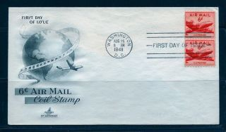 First Day Cover Dc - 4 Skymaster Air Mail 6c C41 Coil Pair Artcraft Fdc 1949 photo