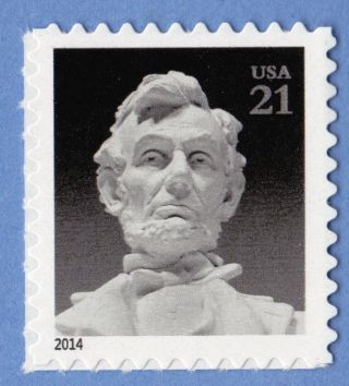 Abraham Lincoln Black & White 2014 Postage Stamp Statue In Lincoln Memorial photo