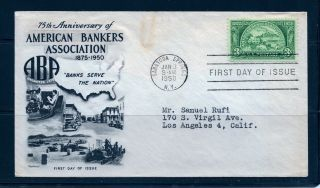 First Day Cover American Bankers 75th Anniversary 3c 987 Fleetwood Fdc 1950 photo