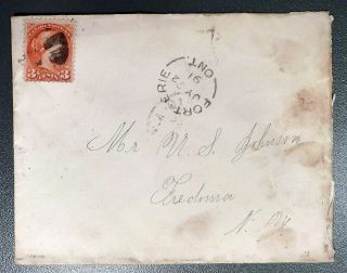 July 22,  1891 Canada Cover: Fort Erie,  Ontario To Mr U.  S.  Johnson,  Fredonia,  Ny photo