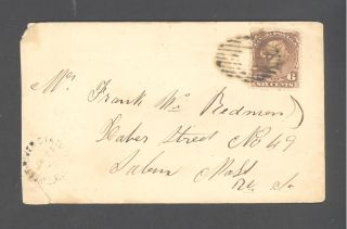 Canada/nova Scotia.  1868.  West River Station To Salem Mass.  Us.  Scott 27.  V.  Scarce photo