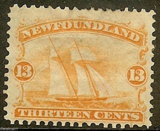 Canada,  Newfoundland 1865 Sc 30,  13¢ Orange, ,  F/vf,  Hh/og - Cv $210.  00 photo