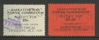 Saskatchewan Se6/se8,  1929 25c/$1 Electrical Inspection Revenues,  Cancelled photo