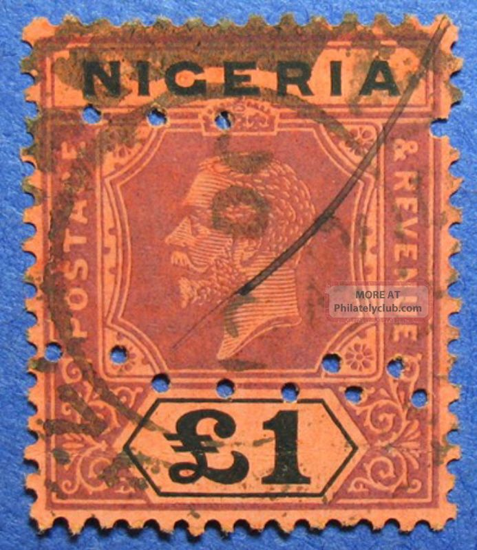 1927 Nigeria 1p Scott 12a S.  G.  12b Cs05950 British Colonies & Territories photo