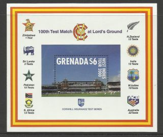 Grenada 2000 Lord ' S Cricket 100th Centenary Test Match Souv Sheet photo