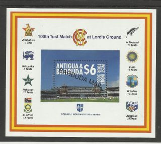Barbuda Mail 2000 Lord ' S Cricket 100th Centenary Test Match Souv Sheet photo