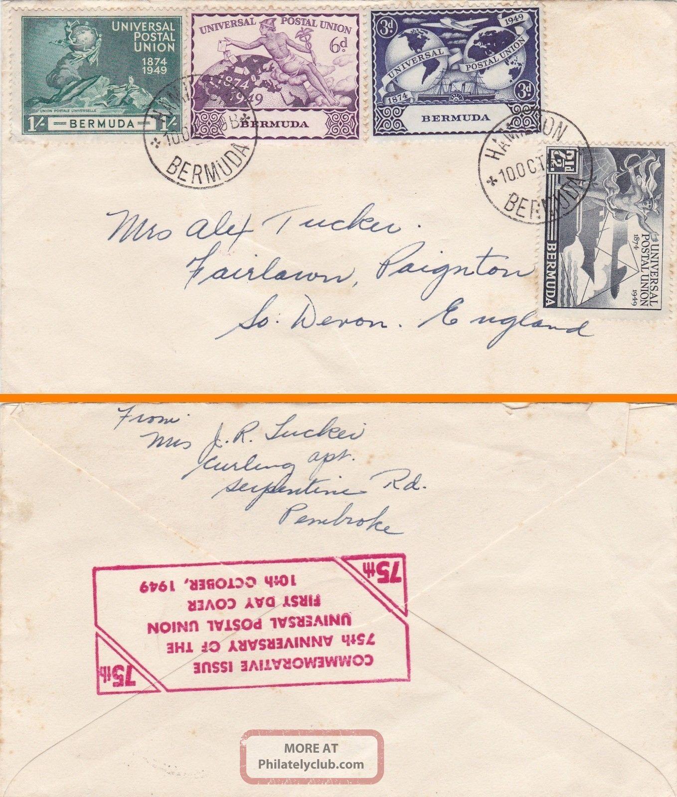 Bermuda : Universal Postal Union 75th Anniversary First Day Cover (1949) British Colonies & Territories photo