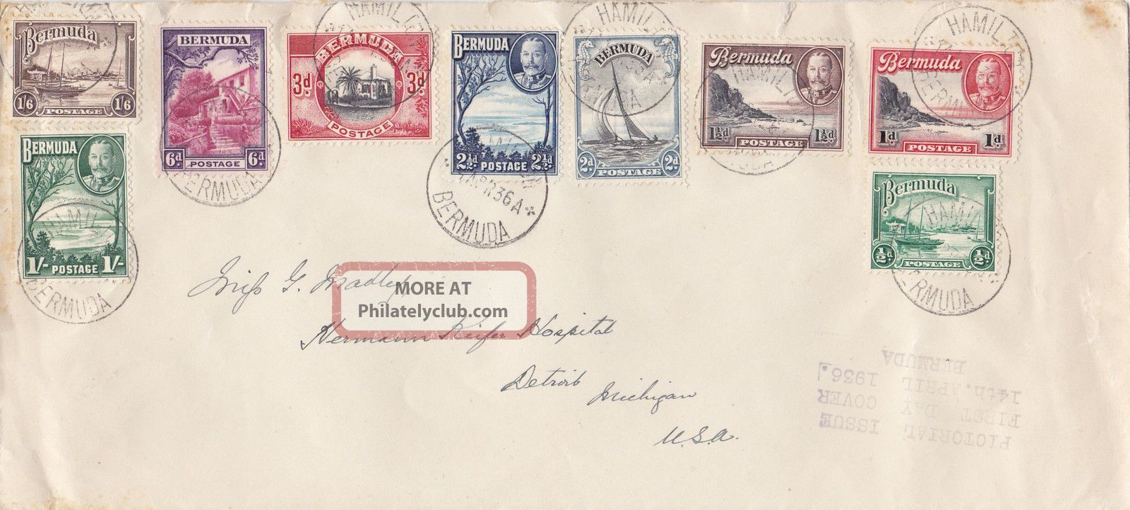 Bermuda : Geo V Pictorial Issue First Day Cover,  ½d - 1/6d (1936) British Colonies & Territories photo
