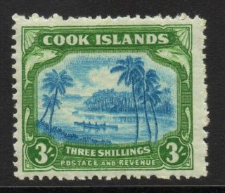 Cook Islands Sg145 1945 3/= Light Blue & Emerald - Green Mtd photo