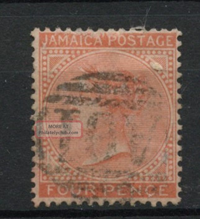 Jamaica 1870 - 83 Sg 11a 4d Orange Qv Wmk Cc A61847 British Colonies & Territories photo