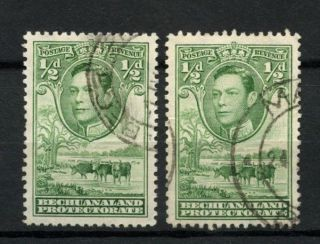 Bechuanaland Protectorate 1938 - 52 1/2d Green Kgvi X 2 Shades A9857 photo