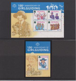 Guyana 100th Anniversary Of Girl Guiding Sheet Of 4 & S/s Scott 4033 - 4034 photo