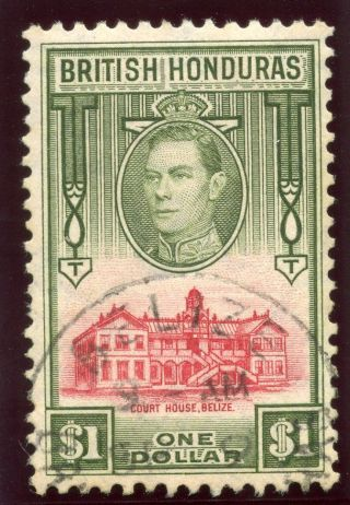 British Honduras 1938 Kgvi $1 Scarlet & Olive.  Sg 159.  Sc 124. photo