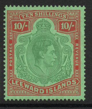 Leeward Islands Sg113 1938 10/= Bluish Green & Deep Red Chalky Paper photo