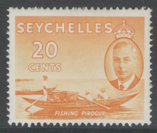 Seychelles Sg163 1952 20c Orange - Yellow Mtd photo