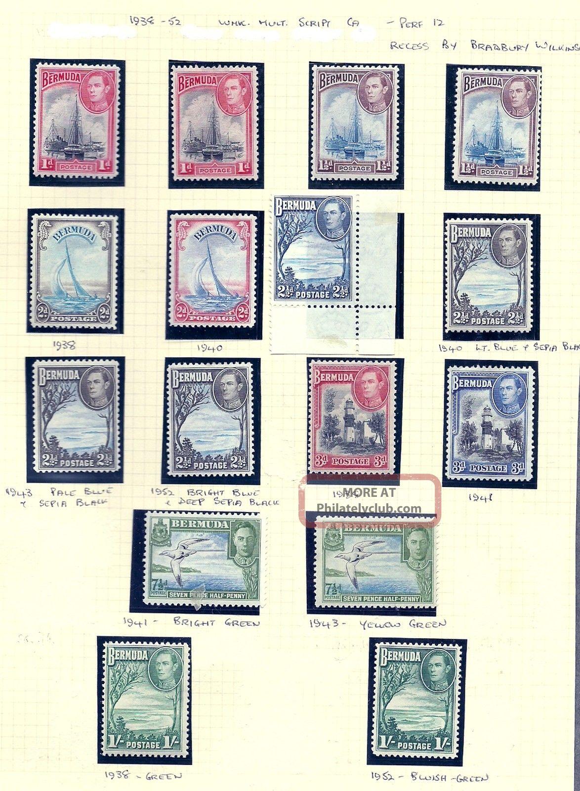 Bermuda Sg 110 - 15 Gvi 1938 - 52 To 1/ - Inc.  Many Shades Mounted Cat £144 British Colonies & Territories photo