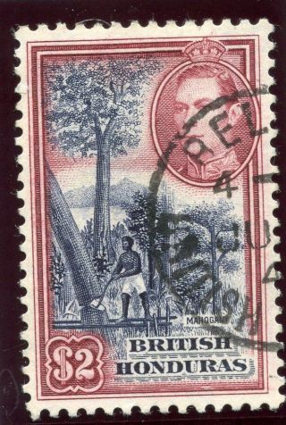 British Honduras 1938 Kgvi $2 Deep Blue & Maroon.  Sg 160.  Sc 124. photo