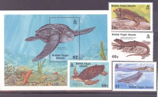 British Virgin Islands Sg 697 - 700+ Ms701 1988 Wildlife Endangered Species photo