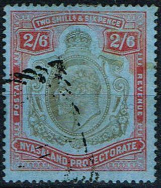 Nyasaland 1908 2s6d Brownish Black & Carmine - Red - Blue Sg78 Cv £100 (r.  O) photo