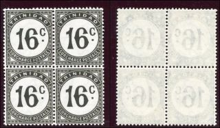 Trinidad & Tobago 1961 Qeii Postage Due 16c Black Block Of Four.  Sg D32a. photo