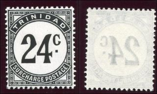 Trinidad & Tobago 1961 Qeii Postage Due 24c Black.  Sg D33a. photo