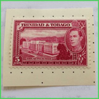 Trinidad & Tobago King George Vi Scarlet Mounted Stamp As Per Scan photo