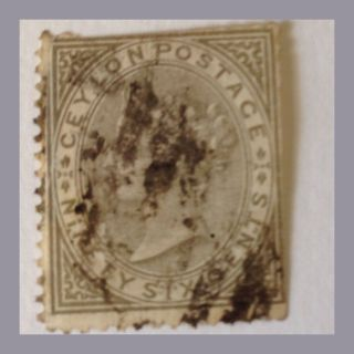 Ceylon 1872 - 80 - Qv - Sg 132 - 96c Drab Trmmed Perf As Per Scans photo