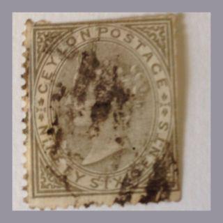 Ceylon 1872 - 80 - Qv - Sg 132 - 96c Drab Trmmed Perf As Per Scans photo