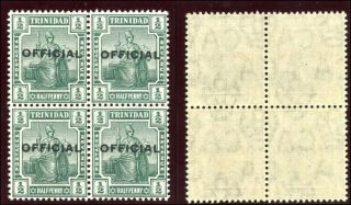 Trinidad & Tobago 1910 Kevii Official ½d Green Block Of Four Sg O10.  Sc O10. photo