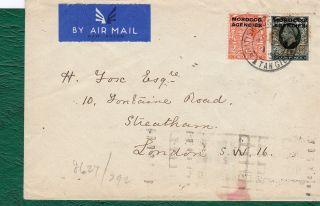 Morocco Agencies.  Postally Cover Tangier - London 1936.  Via Paris. photo