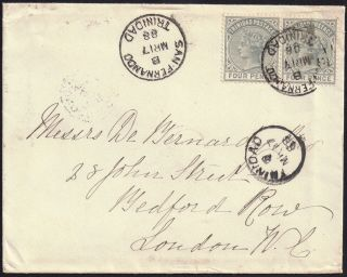 Triidad 1883 4d X 2 Sg 110 Envelope San Fernando 17 Mar 1888 photo