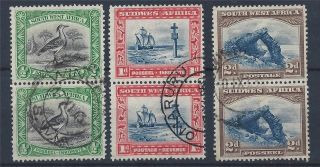 South West Africa 1931 Sg74/76 Bilingual Pairs Cto A 005 photo
