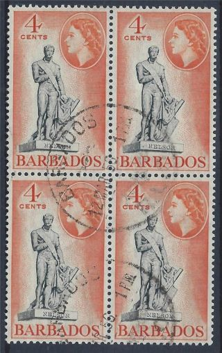 Barbados 1953 Sg292 4c Black Orange Block Of 4 Cto A 006 photo