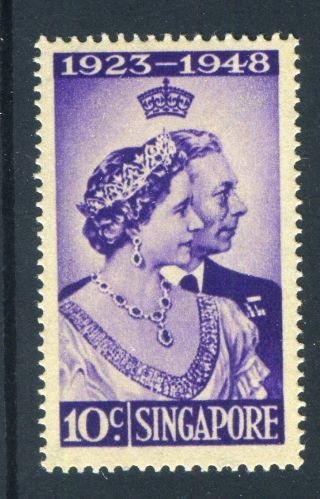 Singapore 1948.  Silver Wedding.  10c Violet. .  Lh.  Og. photo