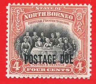 4c Black / Scarlet Stamp O/p Postage Due 1918 North Borneo photo