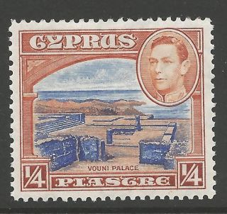 Cyprus Sg151 1938 ¼pi Ultramarine & Orange - Brown Mtd photo