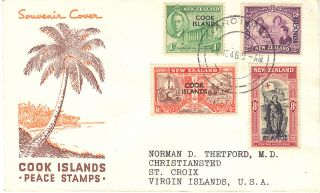 Cook Islands George Vi 1946 Peace Illustrated First Day Cover Ref:cw22 photo