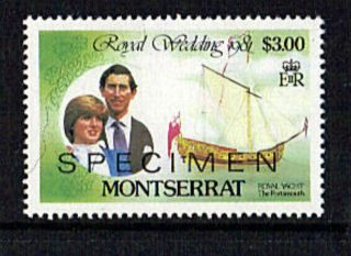 Montserrat 1981 Royal Wedding $3 Value Overprinted Specimen photo