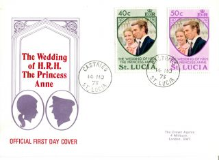 St Lucia 14 November 1973 Royal Wedding First Day Cover photo