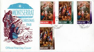 Montserrat 17 December 1968 Christmas Illustrated First Day Cover Cds photo