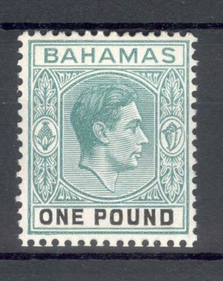 Bahamas Kgvi 1938 - 52 £1 Blue - Green & Black Sg157a photo