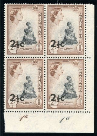 Swaziland 1961 Qeii 2½c On 2d Black & Brown Plate Block Of Four.  Sg 68. photo