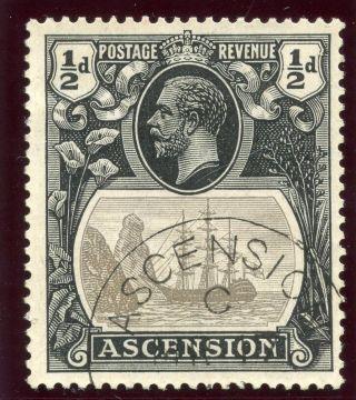 Ascension 1924 Kgv ½d Grey - Black & Black.  Sg 10.  Sc 10. photo