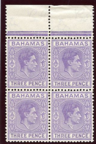Bahamas 1938 Kgvi 3d Violet Block Of Four.  Sg 154.  Sc 105. photo