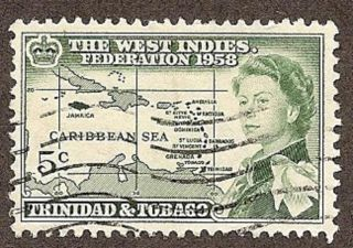 Trinidad & Tobago Scott 86,  Queen Elizabeth Ii & Map Of Caribbean,  Nh 1958 photo