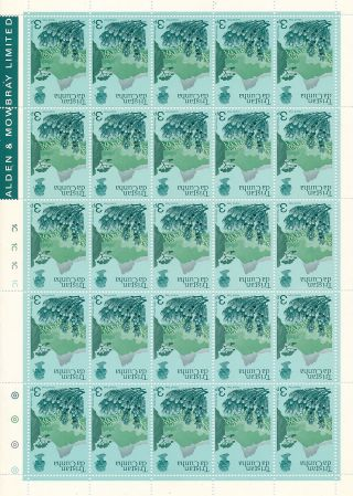 Tristan Da Cunha 1972 Definitives 3p Inverted Watermark Complete Sheet photo