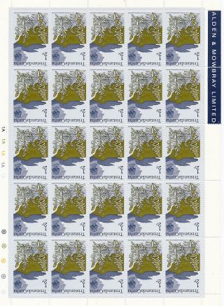 Tristan Da Cunha 1972 Definitives ½p Inverted Watermark Complete Sheet photo