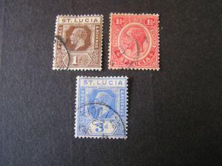 St.  Lucia,  Scott 77+79+83 (3) 1p+11/2p+3p.  Values 1921 - 24 Kgv Issue photo