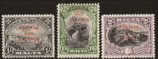 1928 Malta Kgv Ovpt Postage & Revenue Inscr.  Postage 3v 1s,  1s6d & 2s Sg186/8 photo