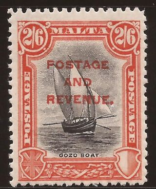 1928 Malta Kgv Ovpt Postage & Revenue Inscr.  Postage 2s6d Sg189 Signed Mh photo